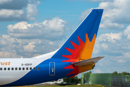 livery: MANCHESTER, UNITED KINGDOM - AUG 07, 2015: Jet2 Airlines Boeing 737 tail livery at Manchester Airport Aug 07 2015. Editorial