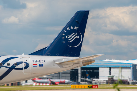 livery: MANCHESTER, UNITED KINGDOM - AUG 07, 2015: KLM (Skyteam) Cityhopper Embraer ERJ-190 tail livery at Manchester Airport Aug 07 2015. Editorial