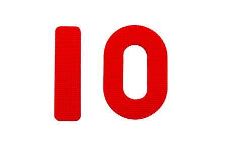 numero diez: Número Diez de textura en el fondo plano