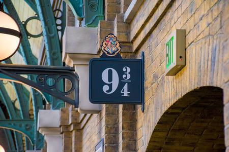 ORLANDO, USA - AUGUST 27, 2015: Sign 9 34 Hogwarts Express. Universal Studios Orlando is a theme park resort in Orlando, Florida, USA
