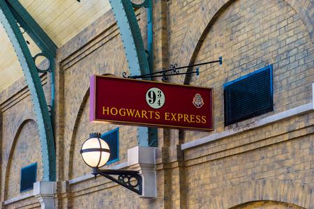 ORLANDO, USA - AUGUST 27, 2015: Sign 9 3/4 Hogwarts Express. Universal Studios Orlando is a theme park resort in Orlando, Florida, USA