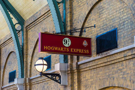 ORLANDO, USA - AUGUST 27, 2015: Sign 9 34 Hogwarts Express. Universal Studios Orlando is a theme park resort in Orlando, Florida, USA