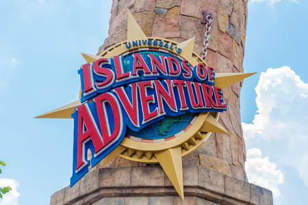 ORLANDO, USA - SEPTEMBER 02, 2015: Islands of Adventure sign at Universal Studios Orlando. Universal Studios Orlando is a theme park in Orlando, Florida, USA.