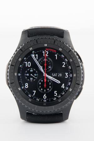 samsung: CHESTER, UK - January 28, 2017: Samsung Gear S3 smartwatch showing the watch face