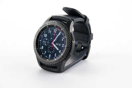 samsung: CHESTER, UK - January 28, 2017: Samsung Gear S3 smartwatch shown at a slight angle