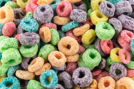 Coloured Fruit Loop breakfast cereal background Standard-Bild