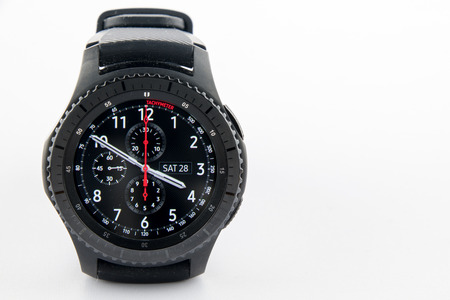 samsung: CHESTER, UK - January 28, 2017: Samsung Gear S3 smartwatch with copyspace to the right.