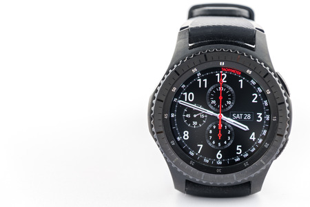 samsung: CHESTER, UK - January 28, 2017: Samsung Gear S3 smartwatch with copyspace to the left. Editorial