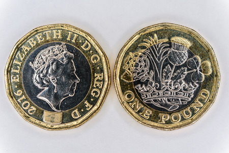 Front and rear image of the new UK twelve sided One pound coin