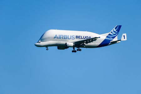 CHESTER, United Kingdom - MAY 07, 2017: Airbus Beluga cargo transporter aeroplane. Airbus has five Beluga aircraft used to transport parts across Europe.