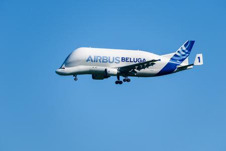 CHESTER, United Kingdom - MAY 07, 2017: Airbus Beluga cargo transporter aeroplane. Airbus has five Beluga aircraft used to transport parts across Europe.