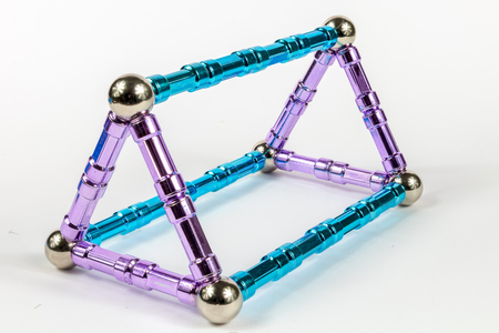 3D Triangular Prism Model shape made from magnets Banque d'images