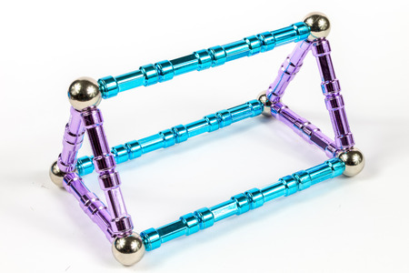 3D Triangular Prism Model shape made from magnets 스톡 콘텐츠