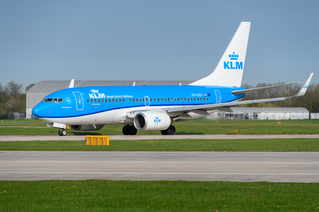 MANCHESTER, UNITED KINGDOM - APRIL 21st, 2018: KLM Boeing 737 ready to depart at Manchester Airport