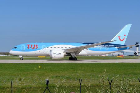 MANCHESTER, UNITED KINGDOM - APRIL 21st, 2018:  TUI airlines Boeing 787 ready to depart at Manchester Airport