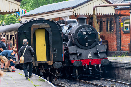 LLANGOLLEN WALES UNITED KINGDOM - AUGUST 27 2018: Steam train from the Llangollen railway