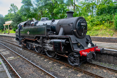 LLANGOLLEN WALES UNITED KINGDOM - AUGUST 27 2018: Steam train from the Llangollen railway