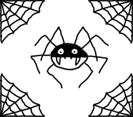 Hand drawn spiders web illustration with a spider in the centre. Black web and spider with a White background Imagens