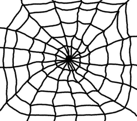 Hand drawn spiders web illustration. Black web with a white background