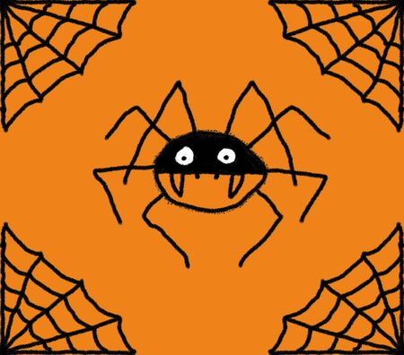 Hand drawn spiders web illustration with a spider in the centre. Black web and spider with a orange background