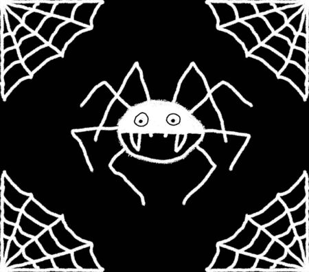 Hand drawn spiders web illustration with a spider in the centre. White web and spider with a black background