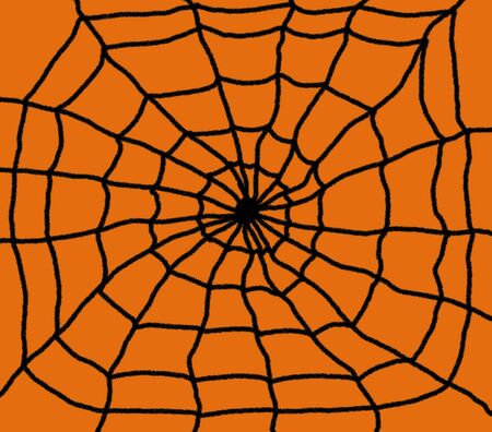 Hand drawn spiders web illustration. Black web with a Orange background Imagens