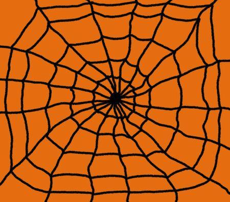Hand drawn spiders web illustration. Black web with a Orange background Stock Photo