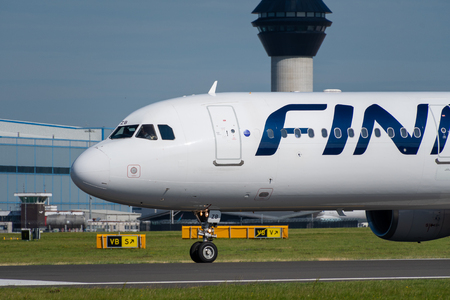 MANCHESTER, UNITED KINGDOM - AUGUST 24, 2019: Close view of a Finnair Airbus A321