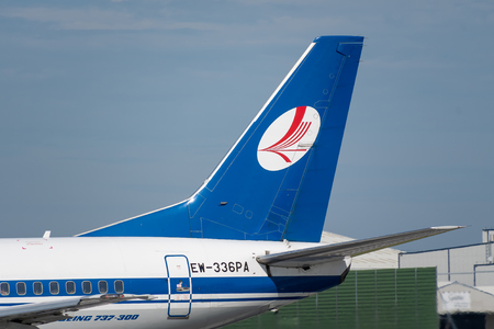 MANCHESTER, UNITED KINGDOM - AUGUST 24, 2019: Belavia Boeing 737 tail livery Редакционное