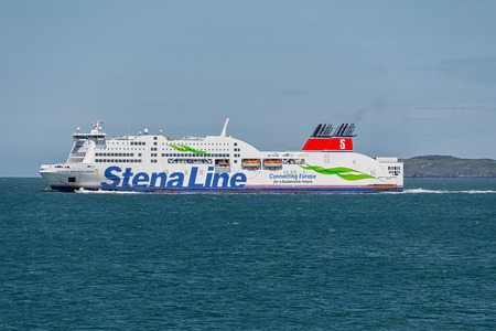 HOLYHEAD,  UNITED KINGDOM - JUNE 15, 2019: StenaLine ferry just departed Holyhead on its way to Dublin