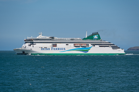 HOLYHEAD,  UNITED KINGDOM - JUNE 15, 2019: Irish ferry just departed Holyhead on its way to Dublin