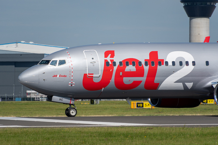 MANCHESTER, UNITED KINGDOM - AUGUST 24, 2019: Close view of a Jet2 Boeing 737