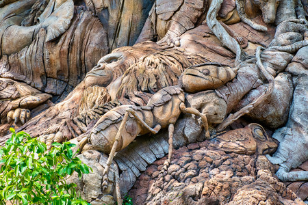 ORLANDO, FLORIDA USA. MAY  03, 2019: Carvings on The Tree of Life at Disneys Animal Kingdom