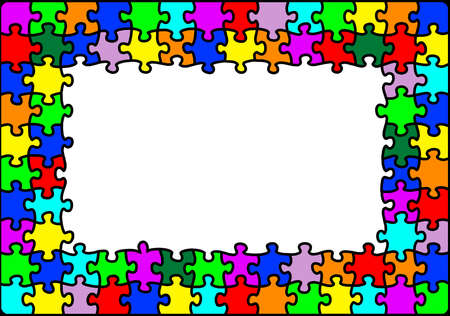 Bright colourful and vibrant multicolour jigsaw puzzle border with copyspace