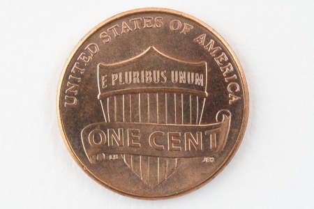 USA one cent coin currancy. Isolated on white background. Macro image