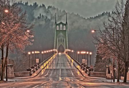 portland: St. Johns Bridge, Portland Oregon Stock Photo