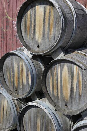 kegs: wine kegs stacked