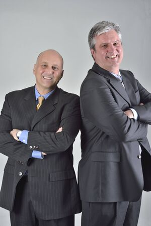 concluding: Businessmen concluding negotiation for corporate partnership Stock Photo