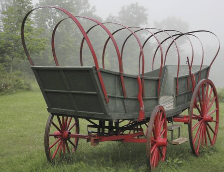 covered wagon: Conestoga covered  wagon in fog