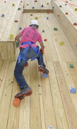Hiram House Camp. Team Building Program. Climbing Wall Element. Banco de Imagens