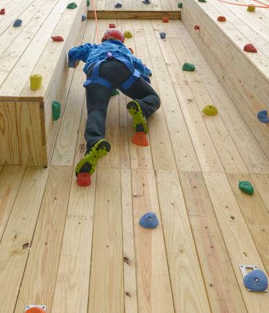 climbing  wall: Hiram House Camp. Team Building Program. Climbing Wall Element. Stock Photo