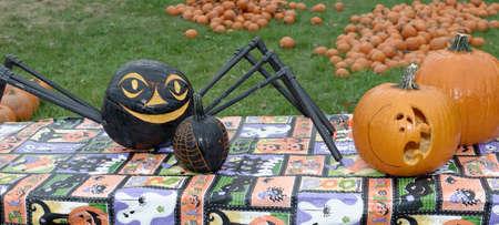 carving pumpkin: Hiram Pumpkin Festival Anual House. 13 de octubre 2013. Talla de calabaza Foto de archivo