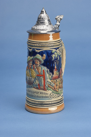 stein: German Beer Stein with alpine decor and ornamental lid