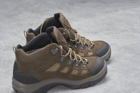 hiking boots: Pair of brown, ankle high hiking boots