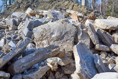 Rock,stone,bricks,concrete slabs piled to be used for erosion landfill Stok Fotoğraf