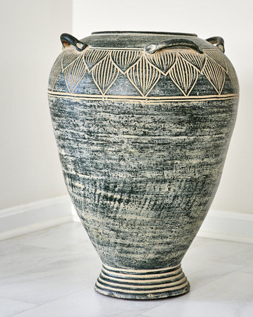Large Grey Clay Vase In Natural Light On White Carpetingtile Stock