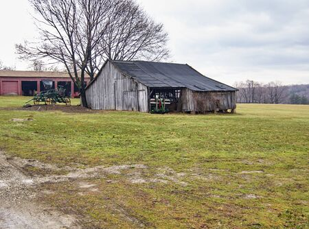 farm equipment: Century Village - Burton, Ohio - farm equipment shed
