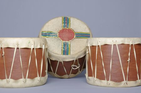 three Native American drums Stock Photo