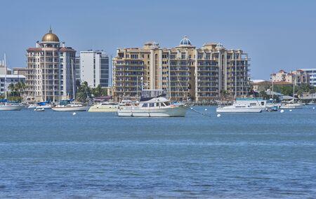Sarasota,Florida harbor and skyline, watercraft, boats
