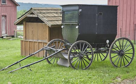 amish buggy parked in barnyard